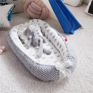 Folding, removable and washable portable anti-pressure crib with bionic fully removable baby pillow for traveling cribs