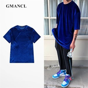 summer Men vintage black blue Solid Oversized Velour Short sleeve tshirts Streetwear Men Loose Casual O-neck Velvet T Shirts Tee 1005