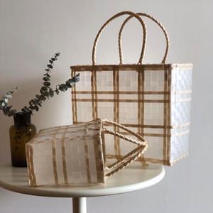 New transparent plastic woven bag waterproof shopping basket beach bag vegetable basket rural style leisure