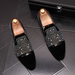 Newest designer Rhinestone Men Shoes Luxury Flat Walking Shoe Dress Party