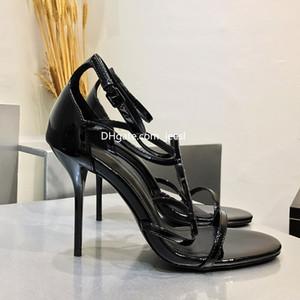 Высокое качество замша внутри дизайнер металлической полосы Черный лакированной кожи Thrill Heel Pumps 11см Женщины Tribute кожа сандалии выполненные на заказ