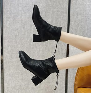 2020 autumn new women's shoes chunky high heel high top shoe sleeve leather shoes fashion boots temperament simple fashionable shoes comfort