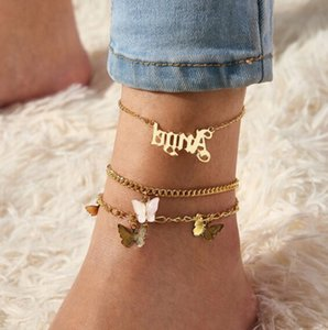 2020 Summer Beach new Ankle Bracelet Girls Butterfly Angle Letter Alphabet Pink Pendant Alloy Foot Jewelry For