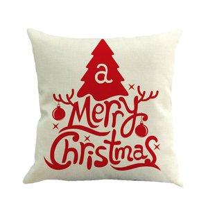 2020 الغلاف عيد الميلاد سانتا كلوز ندفة الثلج الكتان غطاء وسادة كيس مخدة عيد الميلاد أريكة غطاء وسادة 45 * 45CM ث-00329