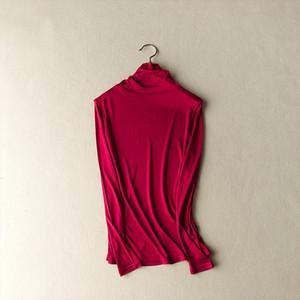 Осень 2020 зимних женщин природа шелковый двухсторонний вязаный реальный шелк шелковый шелковый чан тонкий воротник термический нижний белье Tops футболка
