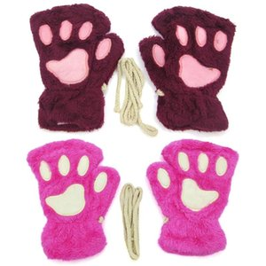 Women Cute Cat Claw Plush Mittens Warm Soft Plush Short Fingerless Fluffy Bear Cat Gloves Costume Half Finger