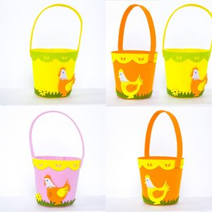 Happy Easter Cock Printed Basket Colorful Egg Cartoon Non-woven Tote Bag Lovely New Year Gifts Egg Candies Barrel Bucket Handbag G12003