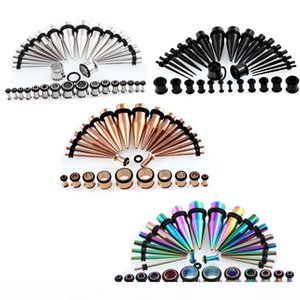 36pcs 14G-00G Surgical Stainless Steel Tapers Ear Stretching Plugs Kit Flared Screw Ear Expansion Tunnel Piercing Jewelry Suit