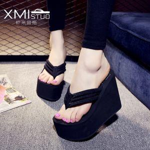 Xmistuo 12 cm yamaç kalın kabuklu muffin su geçirmez sandalet ve terlik kayma kadın yüksek flip-flops Y200624 ile kayma