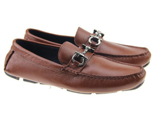 Real leather mens designer shoes Slip-on Buckles luxury design flats leisure shoe Zapatos Mocassin dress shoes 40-46