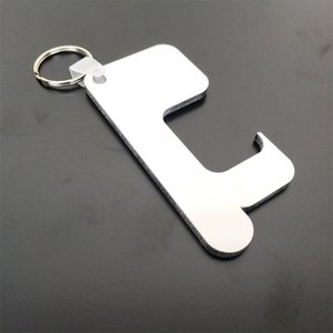 Sublimación Llavero Germ Free Key cadena de manejar sin contacto de la puerta de madera en blanco llavero bricolaje anillos de llave de seguridad sin contacto Abrepuertas HWB2258