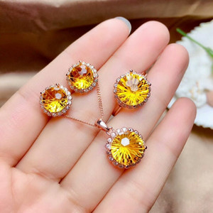MeiBaPJ Fireworks Natural Citrine Jewelry Set 925 Silver Necklace Earrings Ring Three-piece Suite Wedding Jewelry for Women F1219