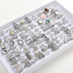 Fashion 50pcs Lot Women's Exquisite Rhinestone Jewelry Party Gift Wedding Engagement Rings Mix Style (Golden Silver)