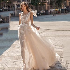 sevintage Berta Bohemian Dresses Boho Lace Appliqued Wedding Gowns One Shoulder Beach Bridal Gown Vestido De Novia Q1113