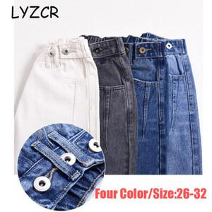 LYZCR Denim Jeans Fidanzato Loose Women vita alta Donne di jeans lunghezza caviglia fidanzati donna pantaloni diritti dei jeans 201013