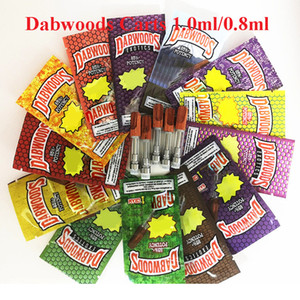 Dabwoods Vape Pen Cartridges 1ml 0.8ml Glass Tanks Wood Tip Ceramic Cell Coil Empty Vaporizer Pen Thick Oil Cartridge 510 Carts with bags
