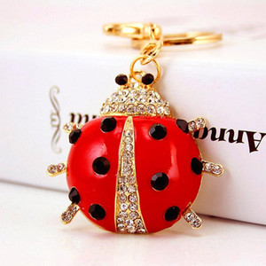 Cute Keychains Enamel Alloy Beetle Pendant Car Key Chains Gold Color Lobster Clasp Fashion Key Rings Free Shipping