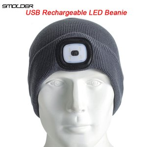 [SMOLDER]Rechargeable USB LED Light Beanie Cap Warm Headlamp Hat Outdoor Hands Free Flashlight Hunting,Camping,Jogging,Fishing 201021