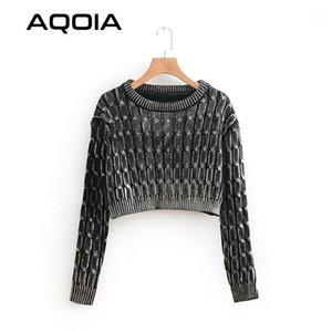 Aqoia Streetwear Langarm Frauen Pullover Lurex Gestrickte Damen Pullover 2019 Mode Winter Crop Top Kleidung Drop Shipping1