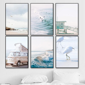 Nordic Style Beach Wall Art California Lifeguard Canvas Painting Ocean Posters and Prints Decorations for Living room Home Decor