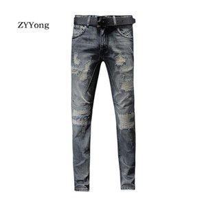 ZYYong pantaloni diritti Moda semplice lavato classico stile Business Casual Style zona del foro dei jeans da uomo lavato colore denim pantaloni