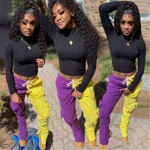 Mujeres Pantalones con cordón Colorblocked tendencia de la moda bajo la cintura Casual deporte del basculador de la cremallera de los pantalones diseñador Mujer Nueva Loose Straight Sweatpant