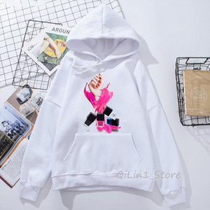 Pink vogue Nail Polish printed womens sweatshirt 90s hipster winter autumn tumblr clothes hat hoody ladies streetwear moletom
