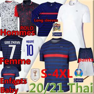 2020 PANTALONES 21 Francia Mbappé Griezmann Pogba camisetas de fútbol nacional POLO hommes enfants Hembra maillot de las camisas de los hombres de pie los niños de bolas Uniformes
