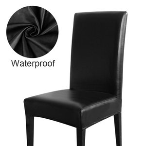 Waterproof Chair Cover PU Leather Fabric Chair Covers Big Elastic Seat Covers Stretch Seat Case For Home Banquet Hotel