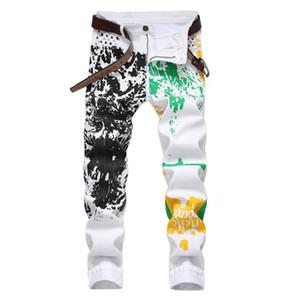 Erkekler Hip Hop Baskılı Erkek Jeans High Street İnce Yüksek Stretch Pamuk Kovboylar Pantolon Renkli Graffiti Casual Goth Pantolon