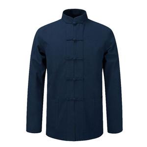 Langarm Baumwolle Traditionelle chinesische Kleidung Tang Anzug Top Kung Fu Tai Chi Uniform Frühling Herbst Hemd Bluse Mantel Für Männer Y0104