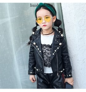 Spring And Autumn Children's Wear Pearl Leather Coat PU Leather Outwear Middle Kid's British Style Top Zipper Coat