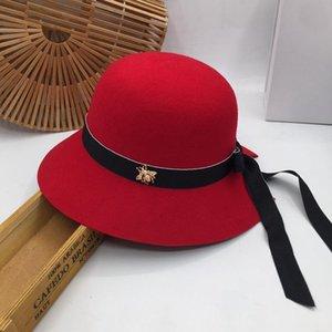Französisch roten Hut Fischer Hepburn Wind, der alte Weisen über weibliche homburg Wolle aristokratische Mode Joker Tidebecken ha