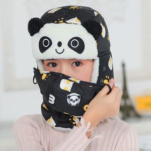 Animal d'hiver Panda Bombe Sharp Bomber Boy chapeaux pour chapeaux Casquette avec encadrement masques de cou en coton casquette de neige oreilleffs masque de chapeau russe