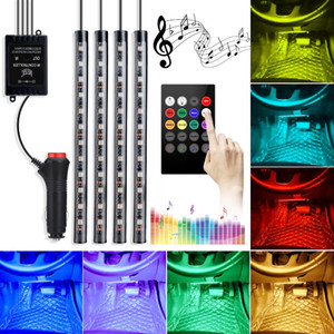 48 LEDs Colorful Car Interior Atmosphere LED Strip Lights Waterproof Neon Strips Car Decoration with Remote Control