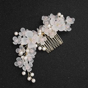 FORSEVEN Kadınlar Tiara Düğün Saç Accrssories Gelin Alaşım Çiçek Şekli El yapımı Saç Tarak Rhinestone Hairband JL