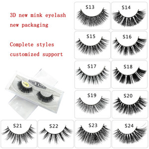 free shipping 3D mink false S13-S24 handmade eyelash 3D eye make up mink eyelashes use PET pack box