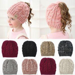 Girls Winter Ponytail Beanie Hat Kids Stretch Knit Messy High Bun Hat Winter Soft Warm Ponytail Cap HHA1608