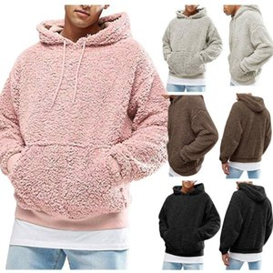 Hiver Hommes chauds FAUX FUR FUR TEDDY BOAR Sweat à capuche Sweat à capuche Tops Pull Casual Hommes à capuche Sweat-shirt Sweatshirt Heurt