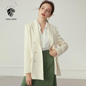 FANSILANEN Office elegant white ladies blazer Women double breasted casual oversized blazer Female long sleeve jacket