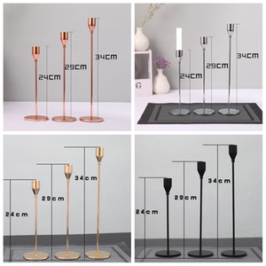 3pcs Lot Candle Holder Candlelight Dinner Candlestick Metal Candle Stand Wedding Supplies Bar Party European Home Decor CYF4514