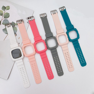Silicone Watch Straps Case 2 in 1 For Fitbit Versa Bracelet Replacement Loop Watch Band Accessories Wrist Strap Anti-fall Siamese