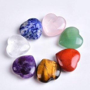 1pc Crystal Naturel Rose Quartz Coeur Pierre Améthyste Tigres Eye Home Decor Artisanat Reiki Guérir Pierre Love Gems QYLDMM