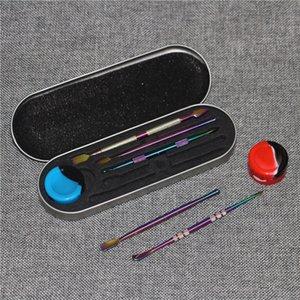 Hot Rainbow Silver Wax Dabber Tools Dabbering Tool 121 мм для сухого травы Водопроводная труба стеклянный бонг копающий инструмент с силиконовой банке