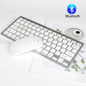 Teclado e mouse Bluetooth definida com as teclas multimídia Bluetooth Wireless Mouse Silm Keyboard Combo para Windows Mac Android