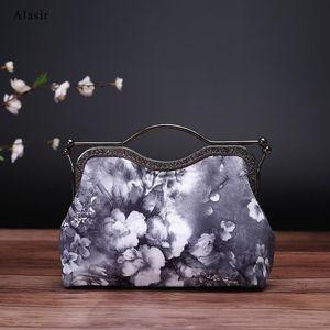 Alasir Handmade Bag Women Chinese Style Handbags Ink Flower Silk Bags Cheongsam Evening Clutch Ladies Vintage Hand Bags