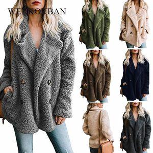 Winter Teddy Coat Women Warm Faux Fur Coats Female Fluffy Jacket Plus Size Long Sleeve Plush Fur Overcoat fourrure femme 5XL
