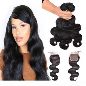 9 A Bundle dei capelli umani con chiusura del pizzo Capelli vergini brasiliani 3 fasci con chiusura e capelli del bambino Onda del corpo con chiusura