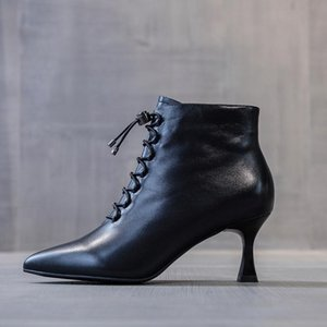 2020 Autumn New European Station Lock Buckle Side Zipper Pointed Toe Thin Heeled High Heels Ankle Boots Women