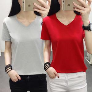 Banerdanni 2020 Neue Produkte Damen Sommerkleidung Einfarbig mit V-Ausschnitt Baumwolle Kurzarm-T-Shirt Frauen plus Größe M-5XL